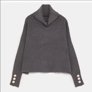 Zara Knit Sweater With Pearl Cuffs On Sleeves